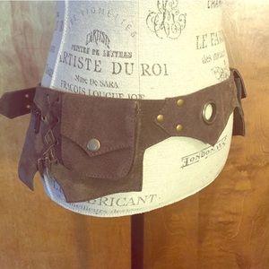 Festival suede utility belt pocket belt leather